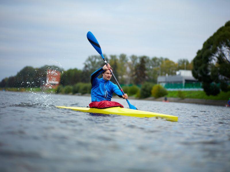 Professional kayak athlete on training